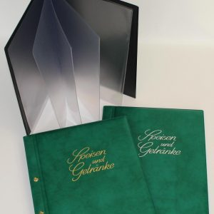 Speisekartenmappen A4 grün - innen schwarz