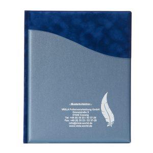 Kondolenzmappe DIN A5 Basisdesign: Welle & Materialmix: Marine